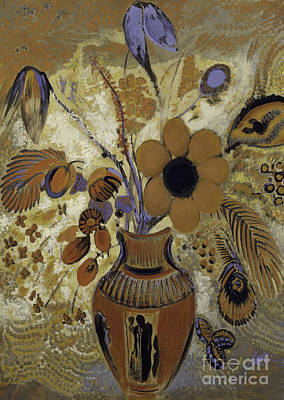 Etruscan Vase With Flowers Poster by Odilon Redon