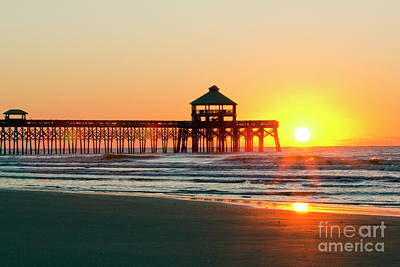 Folly Beach Pier Sunrise Poster by Dustin K Ryan