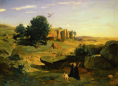 Hagar In The Wilderness Poster by Camille Corot