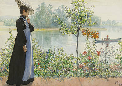 Karin By The Shore Poster by Carl Larsson
