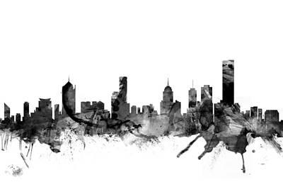 Melbourne Skyline Poster by Michael Tompsett