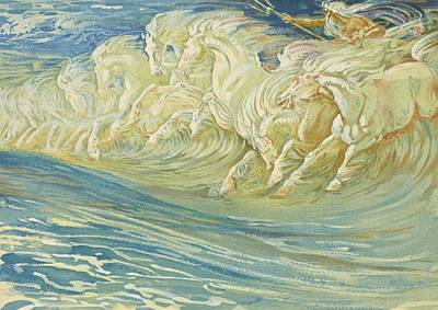 Neptune's Horses Poster by Walter Crane