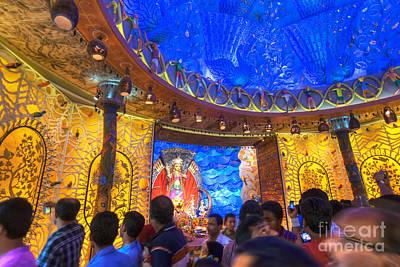 People Enjoying Inside Durga Puja Pandal Durga Puja Festival Poster by Rudra Narayan  Mitra