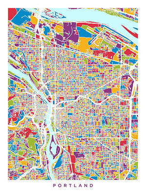 Portland Oregon City Map Poster by Michael Tompsett