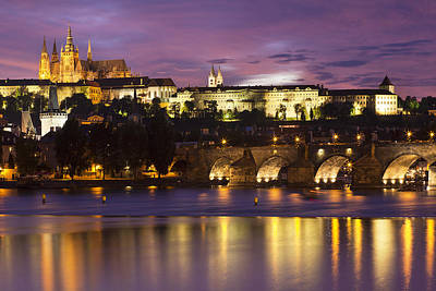 Prague Castle And Charles Bridge Poster by Andre Goncalves