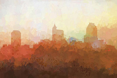 Poster featuring the digital art Raleigh North Carolina Skyline by Marlene Watson