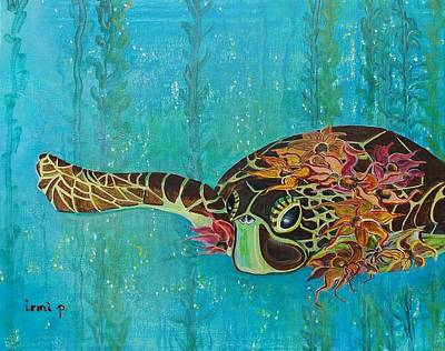 Sea Turtle Fantasy Poster by Irmi  Presutto