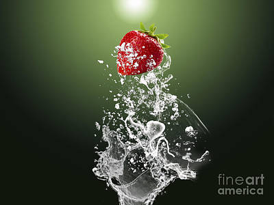 Strawberry Splash Poster by Marvin Blaine
