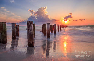 Poster featuring the photograph Sunset Naples Beach Florida by Hans- Juergen Leschmann