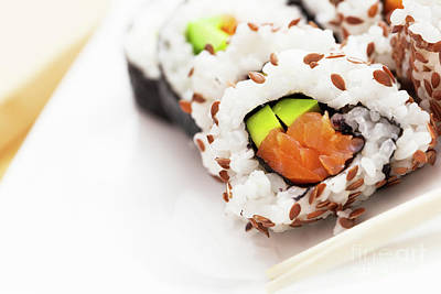 Sushi With Salmon, Avocado, Rice In Seaweed Served With Wasabi And Ginger Poster