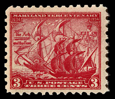 Old Sailing Ship Postage Stamp Poster by James Hill