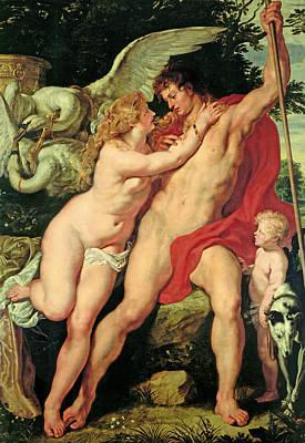 Venus And Adonis Poster by Peter Paul Rubens