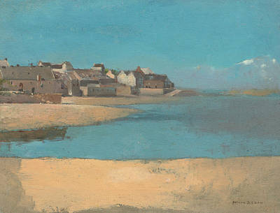 Village By The Sea In Brittany Poster by Odilon Redon