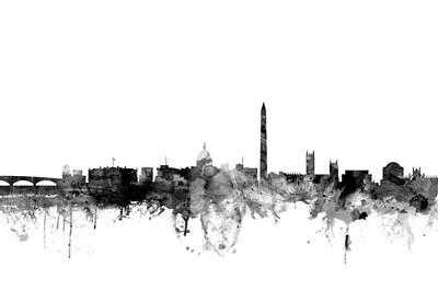 Washington Dc Skyline Poster by Michael Tompsett