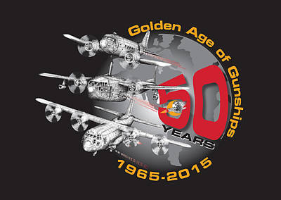 50 Years Of Gunships Poster by Dennis Bivens