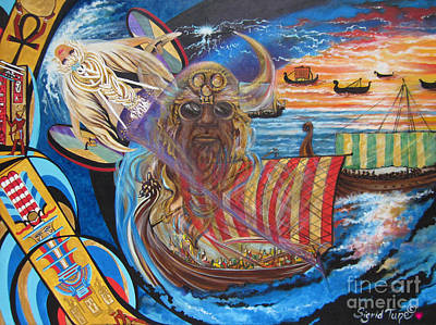 Poster featuring the painting 500 Empires Never Die - Odin by Sigrid Tune