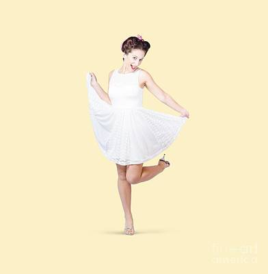 50s Pinup Woman In White Dress Dancing Poster