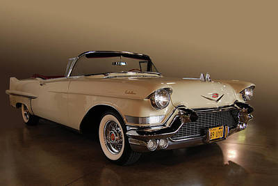 57 Caddy Convertible Poster by Bill Dutting