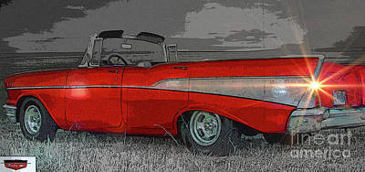 57 Chevy Heading For Route 66  Poster