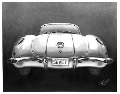 Classic Car Poster featuring the drawing 58vet by Peter Piatt