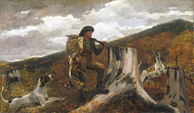 A Huntsman And Dogs Poster by Winslow Homer