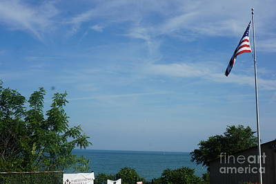 American Flag - Racine Seascape Natural Coas Lanscape - Wisconsin By Adam Asar Poster