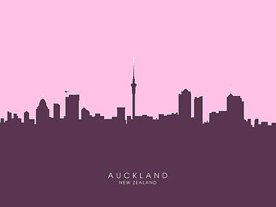 Auckland New Zealand Skyline Poster by Michael Tompsett