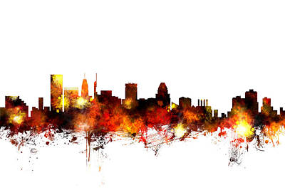 Baltimore Maryland Skyline Poster by Michael Tompsett