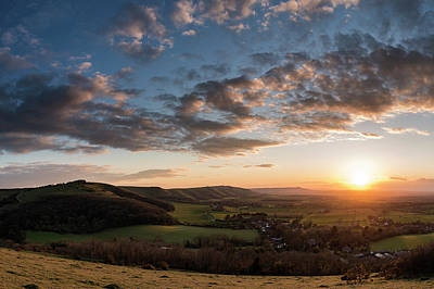 Beautiful Landscape Image Of Sunset Over Countryside Landscape I Poster by Matthew Gibson
