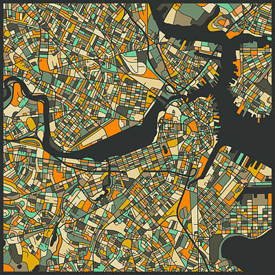 Boston Map Poster by Jazzberry Blue