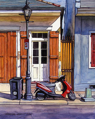 6  French Quarter House With Scooter Poster by John Boles