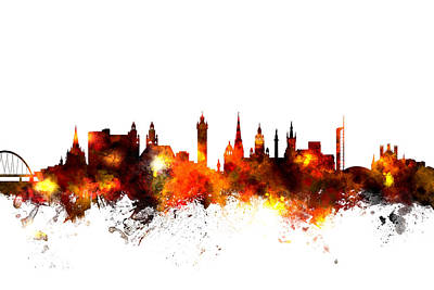 Glasgow Scotland Skyline Poster by Michael Tompsett