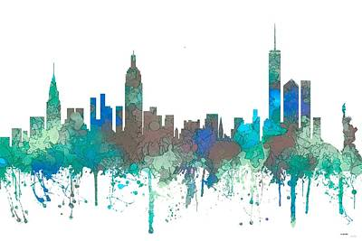 Poster featuring the digital art New York Ny Skyline by Marlene Watson