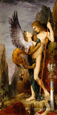 Oedipus And The Sphinx Poster by Gustave Moreau