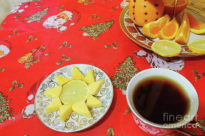 On The Eve Of Christmas. Tea Drinking With Cheese. Poster by Mariia Kilina