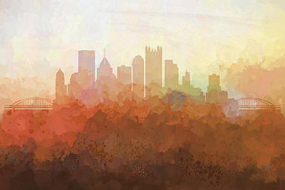 Poster featuring the digital art Pittsburgh Pennsylvania Skyline by Marlene Watson