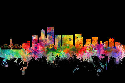 Portland Oregon Skyline Poster by Michael Tompsett