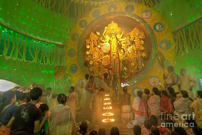 Priest Praying To Goddess Durga Durga Puja Festival Kolkata India Poster