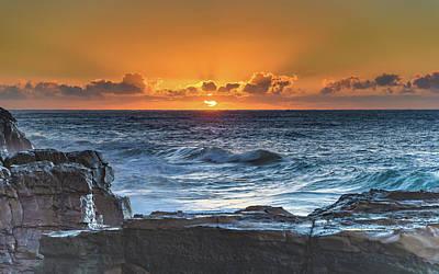 Sunrise Seascape With Sun Poster