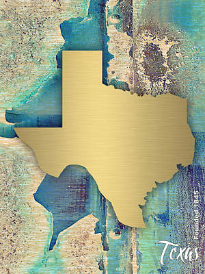 Texas State Map Collection Poster by Marvin Blaine