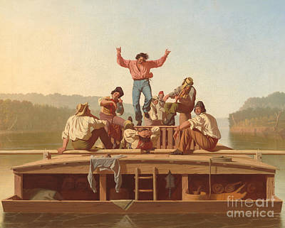 The Jolly Flatboatmen Poster by George Caleb Bingham