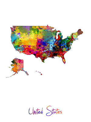 United States Watercolor Map Poster by Michael Tompsett