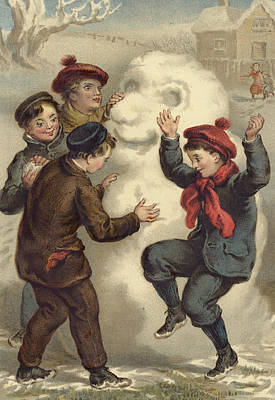 Vintage Christmas Card Poster by English School