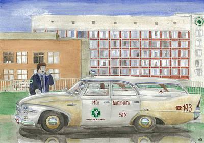 '60 Fury Ambulance Poster by Aleh Kliatskou