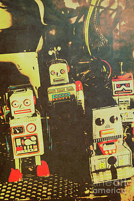 60s Cartoon Character Robots Poster