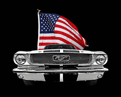 66 Mustang With U.s. Flag On Black Poster by Gill Billington