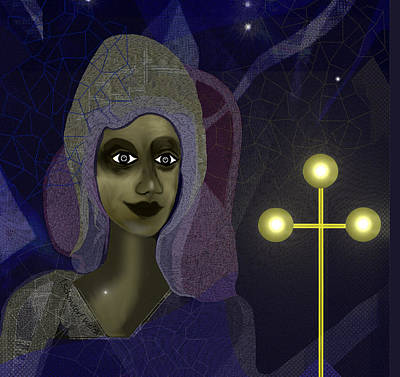 Poster featuring the digital art 673 - Young Lady With Cross by Irmgard Schoendorf Welch