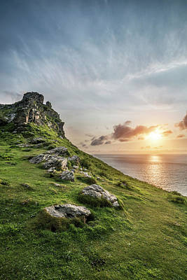 Beautiful Evening Sunset Landscape Image Of Valley Of The Rocks  Poster by Matthew Gibson