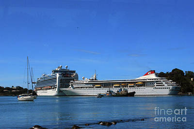 Poster featuring the photograph Cruise Ship In Port by Gary Wonning