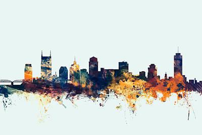 Nashville Tennessee Skyline Poster by Michael Tompsett